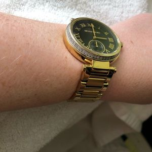 Michael Kors Accessories - MICHAEL KORS black and gold watch w/ crystal